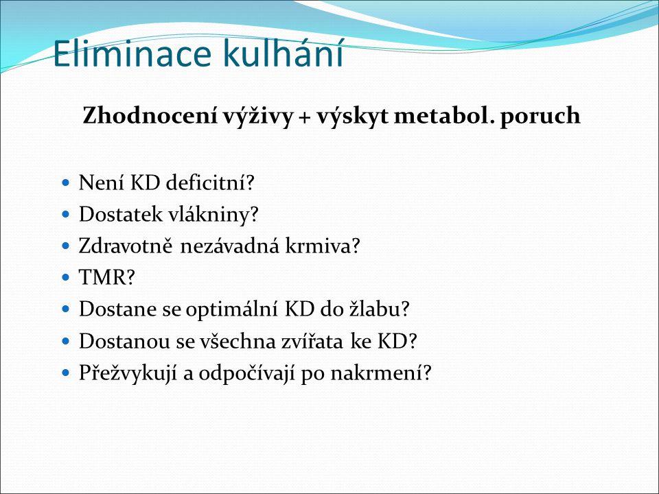 Eliminace kulhání Zhodnocení výživy + výskyt metabol. poruch Není KD deficitní? Dostatek vlákniny? Zdravotně nezávadná krmiva? TMR? Dostane se optimál