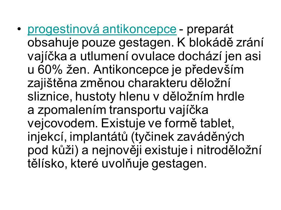 progestinová antikoncepce - preparát obsahuje pouze gestagen.