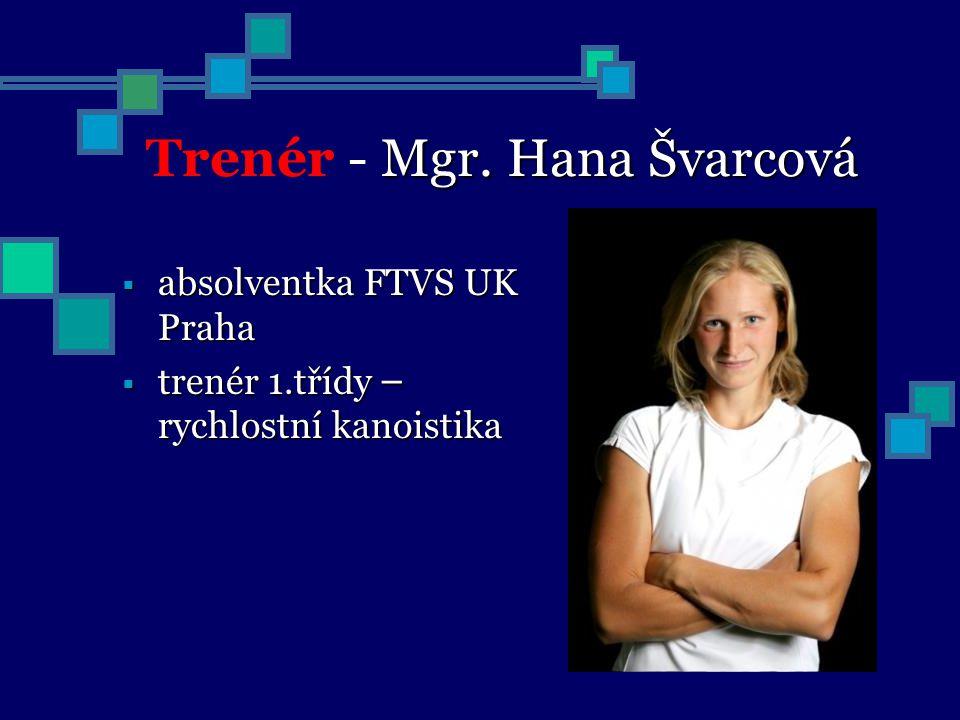 Mgr. Hana Švarcová Trenér - Mgr. Hana Švarcová  absolventka FTVS UK Praha  trenér 1.třídy – rychlostní kanoistika