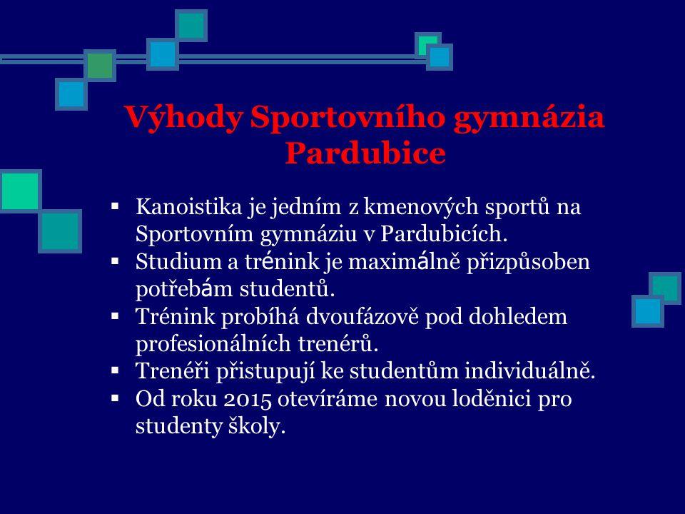  Kanoistika je jedním z kmenových sportů na Sportovním gymnáziu v Pardubicích.  Studium a tr é nink je maxim á lně přizpůsoben potřeb á m studentů.