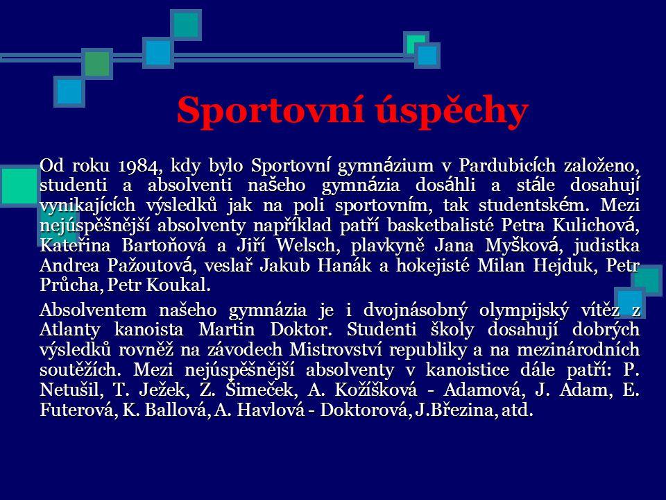 Sportovní úspěchy Od roku 1984, kdy bylo Sportovn í gymn á zium v Pardubic í ch založeno, studenti a absolventi na š eho gymn á zia dos á hli a st á l