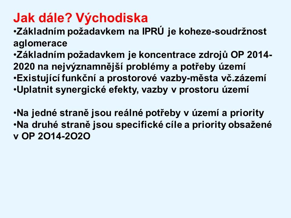 Jak dále? Východiska Základním požadavkem na IPRÚ je koheze-soudržnost aglomerace Základním požadavkem je koncentrace zdrojů OP 2014- 2020 na nejvýzna
