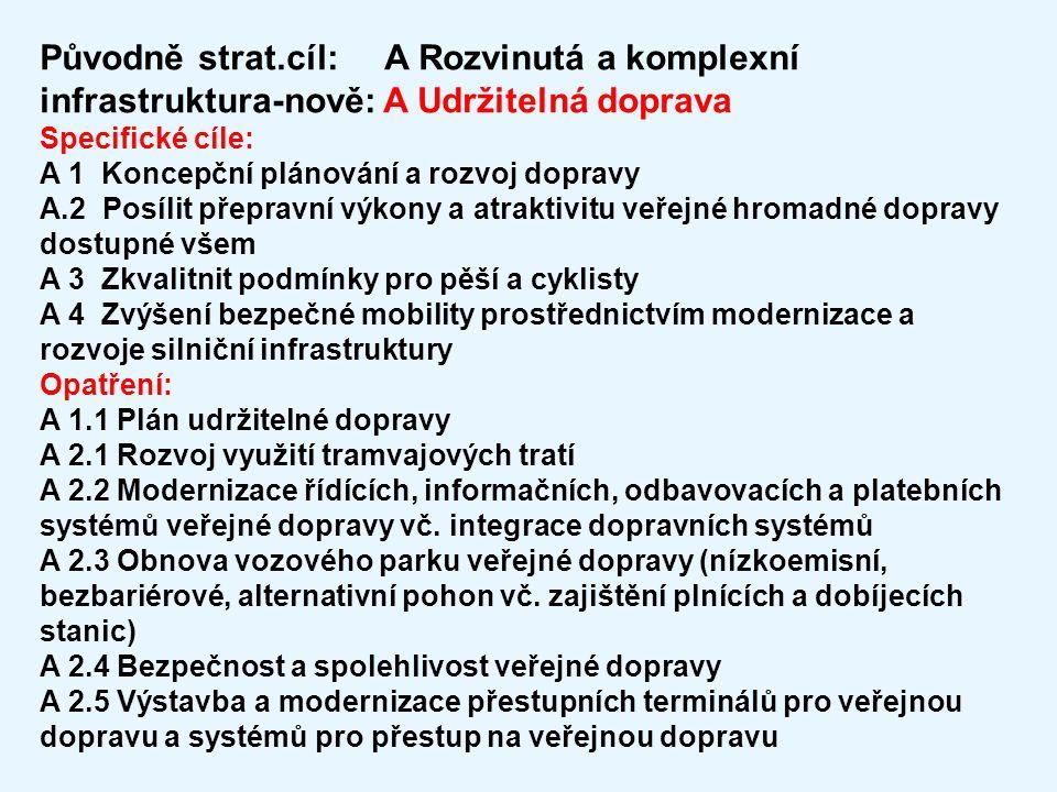 Původně strat.cíl: A Rozvinutá a komplexní infrastruktura-nově: A Udržitelná doprava Specifické cíle: A 1 Koncepční plánování a rozvoj dopravy A.2 Pos
