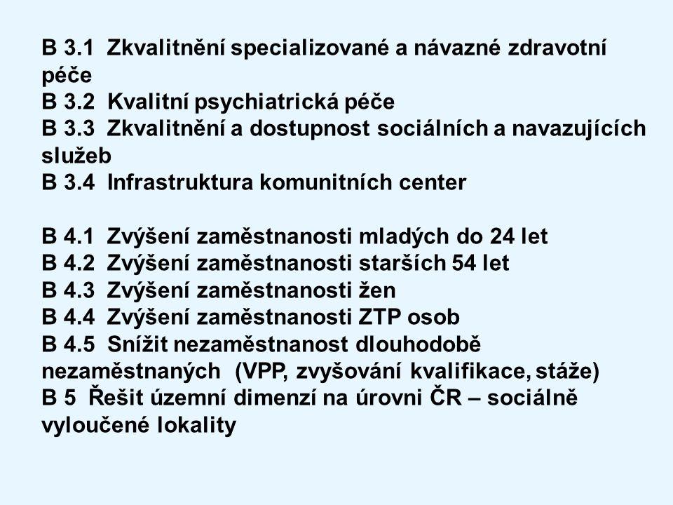 B 3.1 Zkvalitnění specializované a návazné zdravotní péče B 3.2 Kvalitní psychiatrická péče B 3.3 Zkvalitnění a dostupnost sociálních a navazujících s