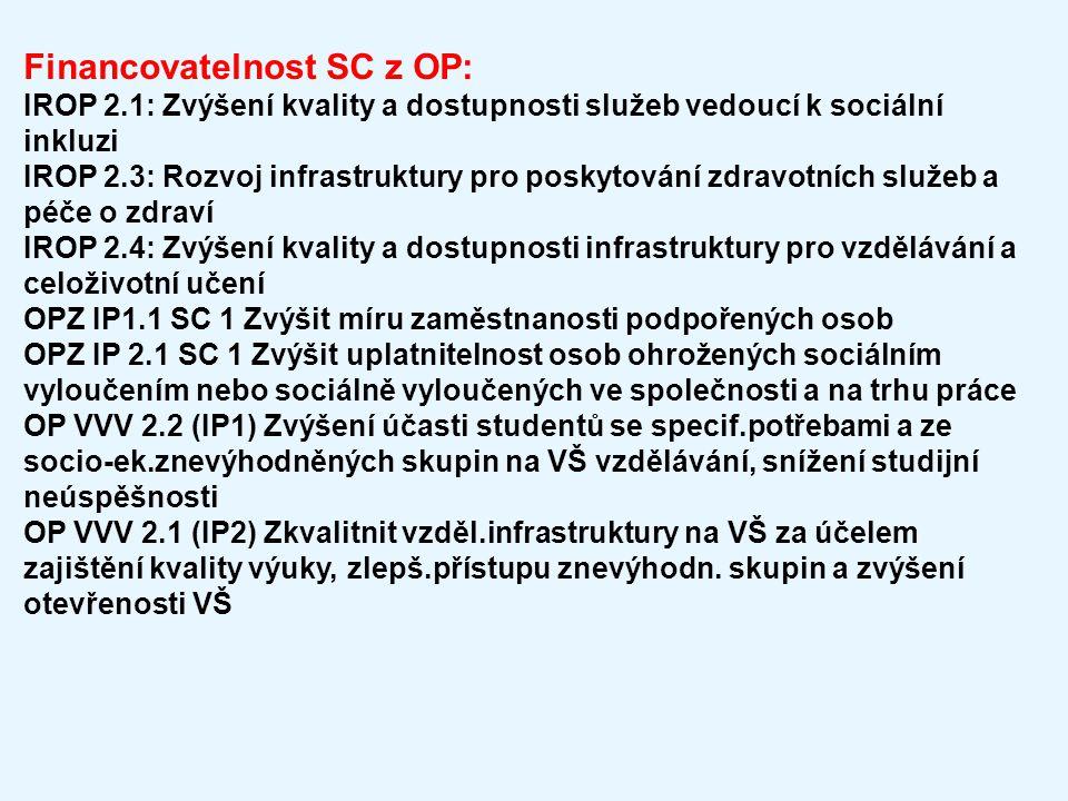 Financovatelnost SC z OP: IROP 2.1: Zvýšení kvality a dostupnosti služeb vedoucí k sociální inkluzi IROP 2.3: Rozvoj infrastruktury pro poskytování zd