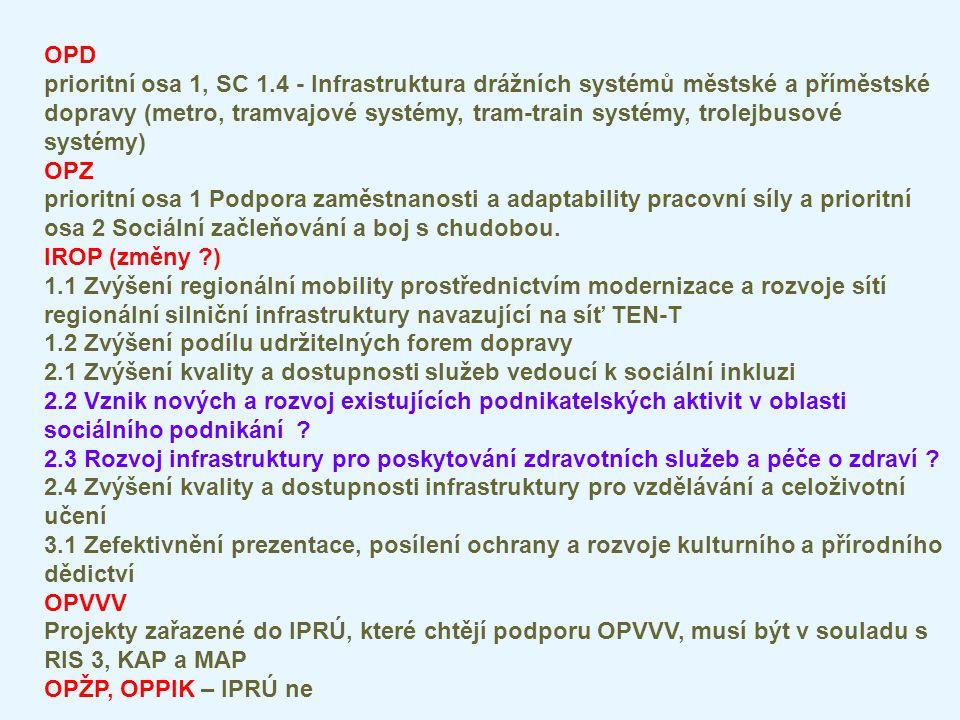 OPD prioritní osa 1, SC 1.4 - Infrastruktura drážních systémů městské a příměstské dopravy (metro, tramvajové systémy, tram-train systémy, trolejbusov