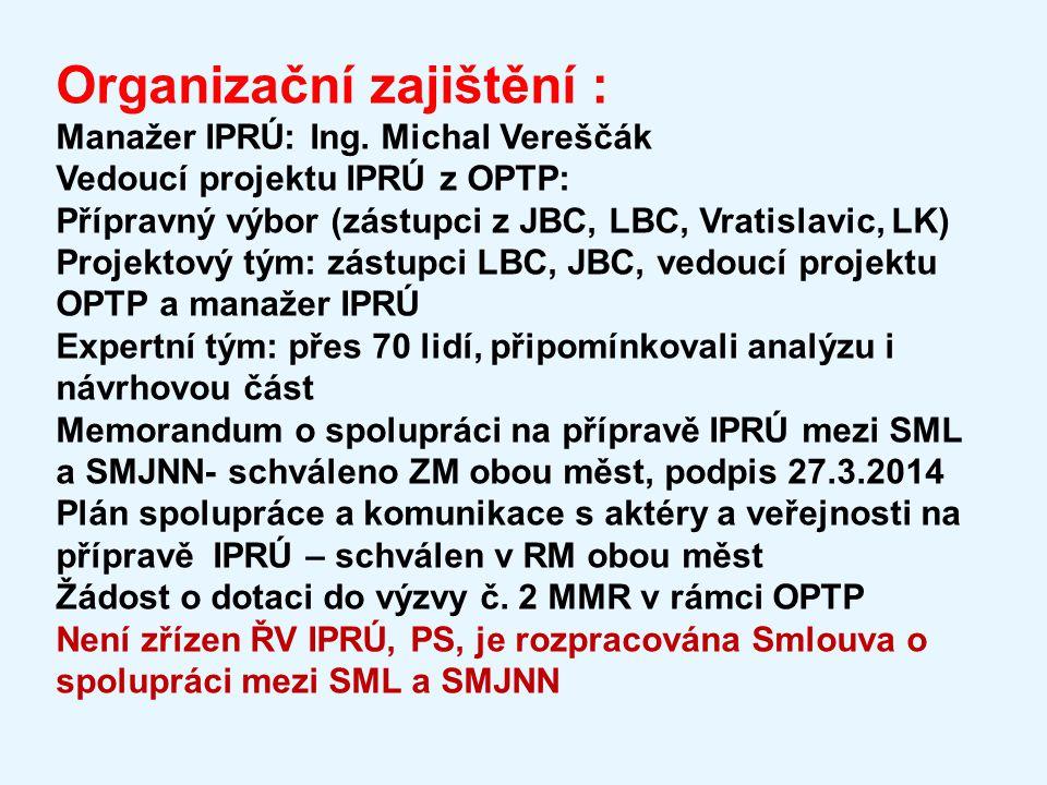Organizační zajištění : Manažer IPRÚ: Ing. Michal Vereščák Vedoucí projektu IPRÚ z OPTP: Přípravný výbor (zástupci z JBC, LBC, Vratislavic, LK) Projek
