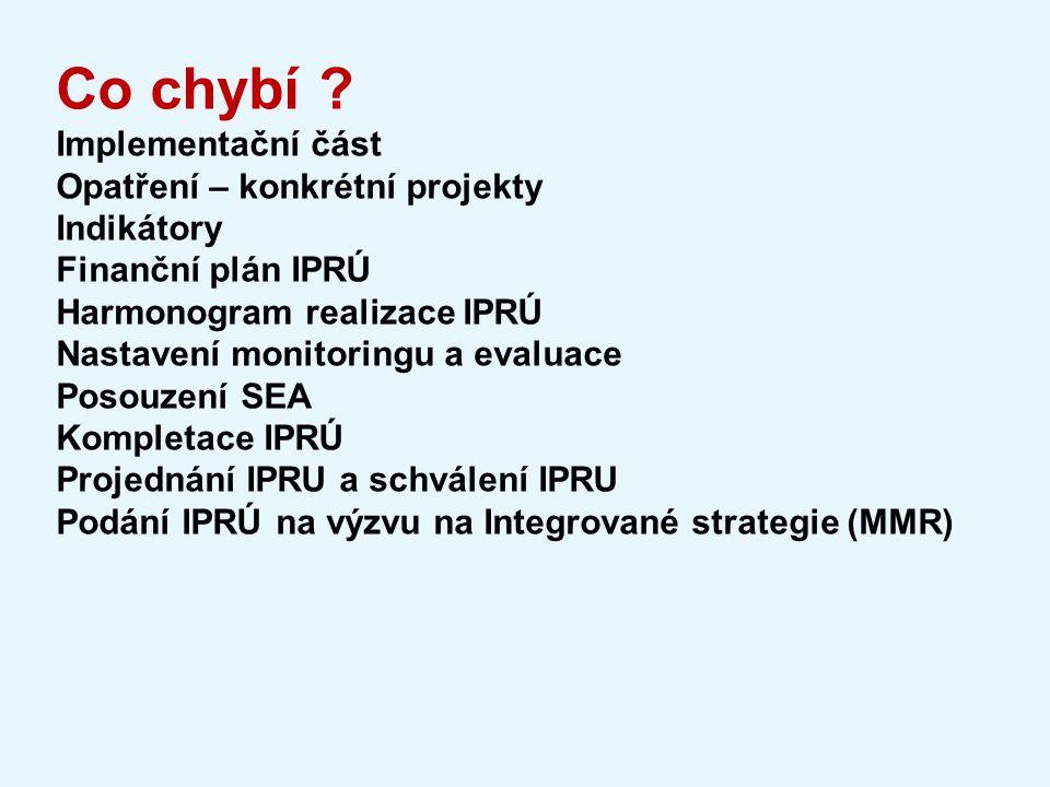 Co chybí ? Implementační část Opatření – konkrétní projekty Indikátory Finanční plán IPRÚ Harmonogram realizace IPRÚ Nastavení monitoringu a evaluace