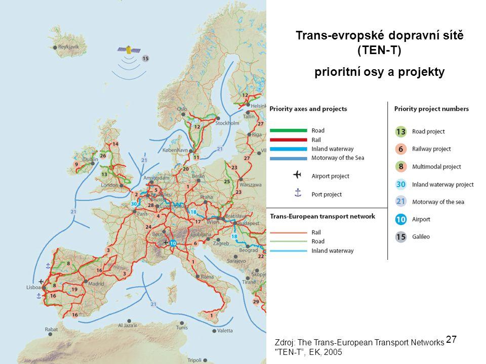 27 Trans-evropské dopravní sítě (TEN-T) prioritní osy a projekty Zdroj: The Trans-European Transport Networks