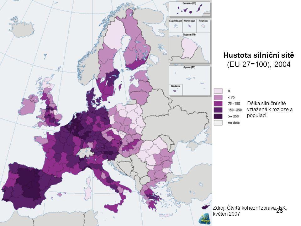 28 Hustota silniční sítě (EU-27=100), 2004 Zdroj: Čtvrtá kohezní zpráva, EK, květen 2007 Délka silniční sítě vztažená k rozloze a populaci.