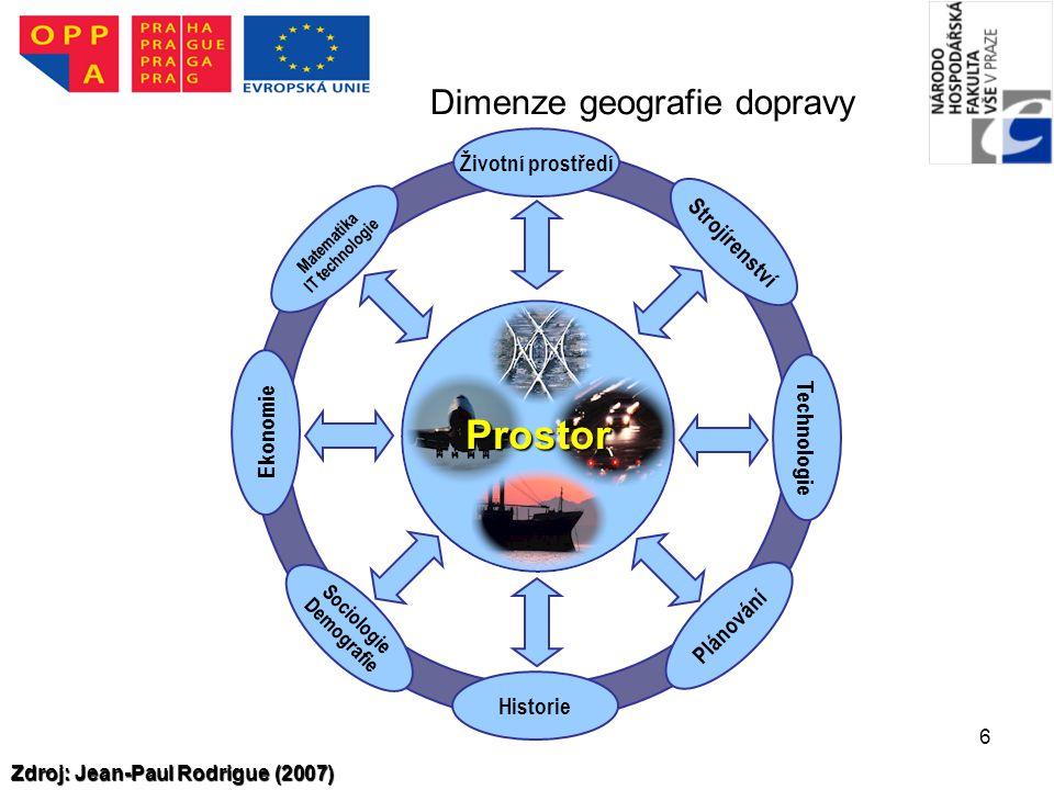 6 Prostor Životní prostředí Strojírenství Technologie Plánování Historie Sociologie Demografie Ekonomie Matematika IT technologie Dimenze geografie do