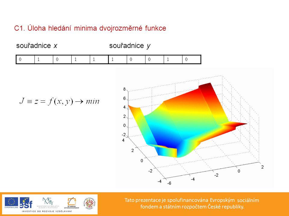 C1. Úloha hledání minima dvojrozměrné funkce souřadnice x souřadnice y 0101110010