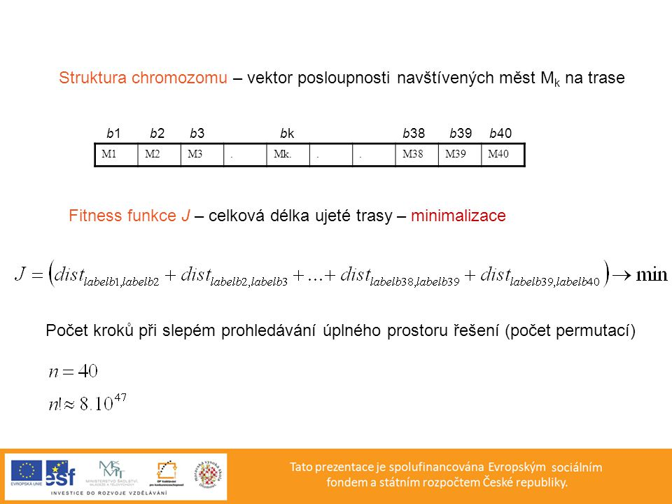 Struktura chromozomu – vektor posloupnosti navštívených měst M k na trase M1M2M3.Mk...M38M39M40 b1 b2 b3 bk b38 b39 b40 Fitness funkce J – celková dél
