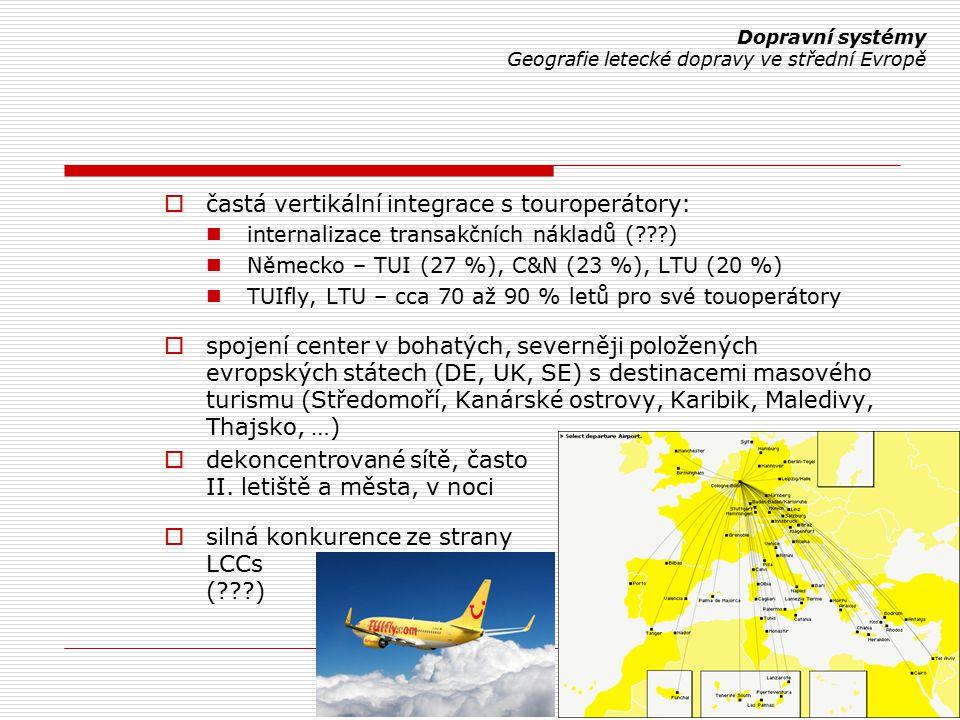  častá vertikální integrace s touroperátory: internalizace transakčních nákladů (???) Německo – TUI (27 %), C&N (23 %), LTU (20 %) TUIfly, LTU – cca 70 až 90 % letů pro své touoperátory  spojení center v bohatých, severněji položených evropských státech (DE, UK, SE) s destinacemi masového turismu (Středomoří, Kanárské ostrovy, Karibik, Maledivy, Thajsko, …)  dekoncentrované sítě, často II.