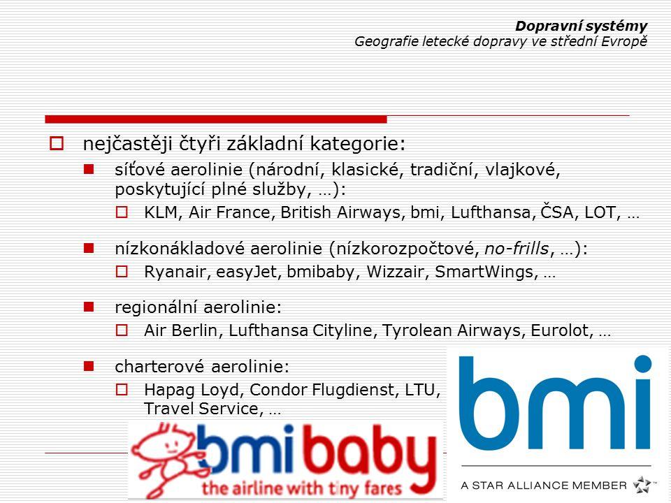  nejčastěji čtyři základní kategorie: síťové aerolinie (národní, klasické, tradiční, vlajkové, poskytující plné služby, …):  KLM, Air France, British Airways, bmi, Lufthansa, ČSA, LOT, … nízkonákladové aerolinie (nízkorozpočtové, no-frills, …):  Ryanair, easyJet, bmibaby, Wizzair, SmartWings, … regionální aerolinie:  Air Berlin, Lufthansa Cityline, Tyrolean Airways, Eurolot, … charterové aerolinie:  Hapag Loyd, Condor Flugdienst, LTU, Travel Service, … Dopravní systémy Geografie letecké dopravy ve střední Evropě