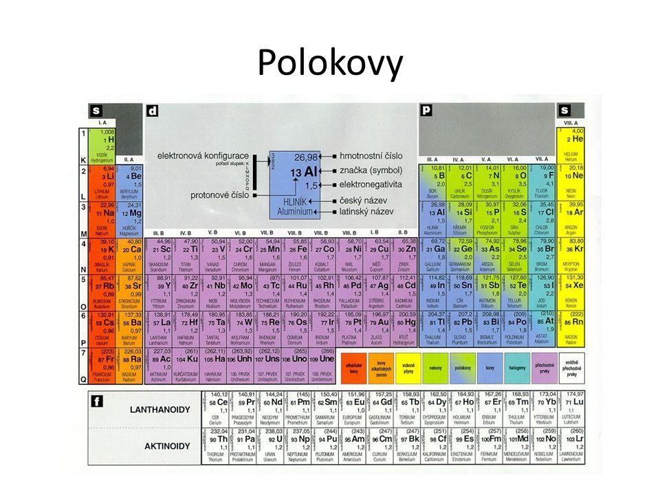 """Vlastnosti polokovů """"metaloidy Prvky s vlastnostmi na rozhraní kovů a nekovů B, Si, As, Te PrvekKovové vlastnostiNekovové vlastnosti Bor (B)Elektropositivní ve sloučeninách s nekovy – B 4 N, BN, BCl 3 Nevodič Elektronegativní ve sloučeninách s kovy – TiB 2 Křemík (Si)Lesklý Elektropositivní ve sloučeninách s nekovy – SiC, Si 3 N 4, SiCl 4 Elektronegativní ve sloučeninách s kovy – Mg 2 Si, Ni 2 Si Arsen (As)Kovový vzhled Vodič Elektronegativní ve sloučeninách s kovy – Ca 3 As 2 Tellur (Te)LesklýElektronegativní ve sloučeninách s kovy – Cu 2 Te, Al 2 Te 3"""