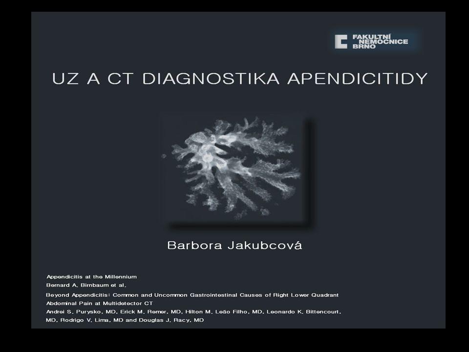 Distální apendicitida normální vzhled proximálního apendixu.