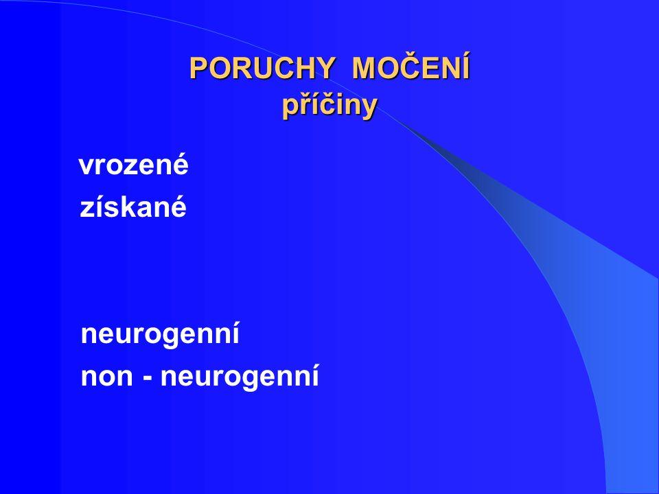 MIKČNÍ DYSFUNKCE u žen neurogenní příčiny rozštěpy páteře sclerosis multiplex míšní trauma výhřez disku nádory CNS CMP M.