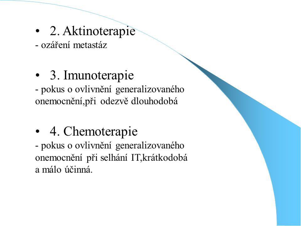 2.Aktinoterapie - ozáření metastáz 3.