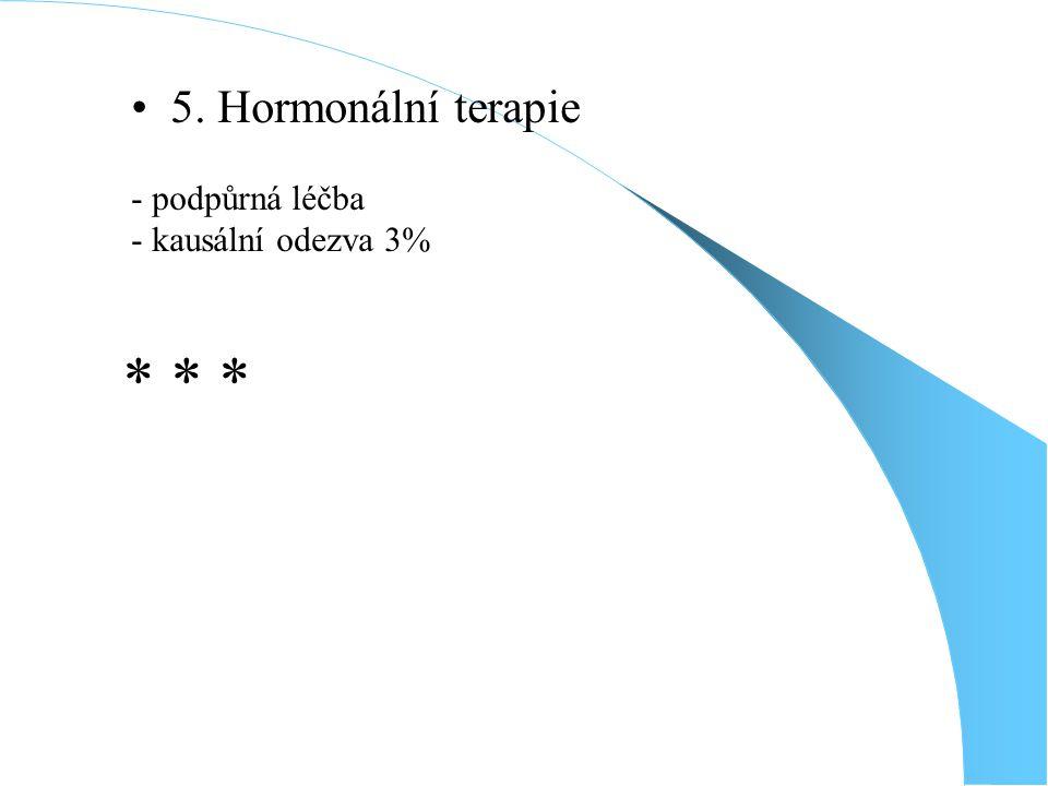 5. Hormonální terapie - podpůrná léčba - kausální odezva 3% * * *