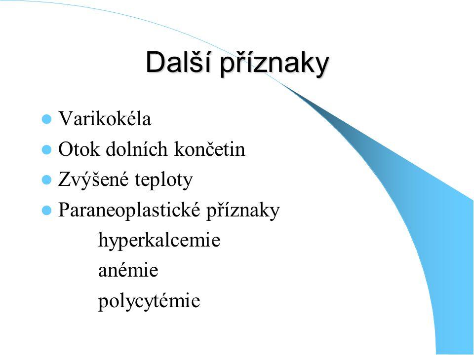 Další příznaky Varikokéla Otok dolních končetin Zvýšené teploty Paraneoplastické příznaky hyperkalcemie anémie polycytémie