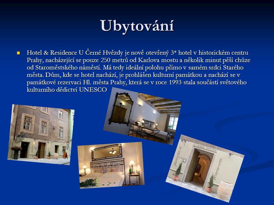 Ubytování Hotel & Residence U Černé Hvězdy je nově otevřený 3* hotel v historickém centru Prahy, nacházející se pouze 250 metrů od Karlova mostu a několik minut pěší chůze od Staroměstského náměstí.