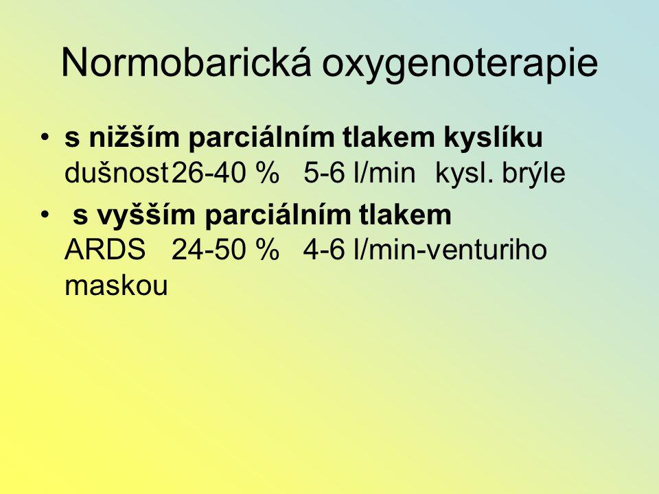Normobarická oxygenoterapie s nižším parciálním tlakem kyslíku dušnost26-40 %5-6 l/minkysl. brýle s vyšším parciálním tlakem ARDS24-50 %4-6 l/min-vent