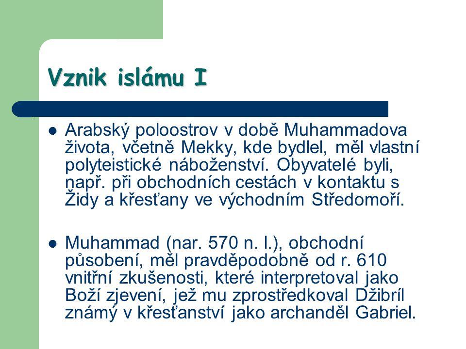 Dva hlavní směry v islámu islám těsně propojen se státem, nejvyšší představitel chalífa, spíše světský vládce většina mínění, že chalífa má být volen: sunnité, dnes asi 80 – 85% muslimů menšina: chalífa (imám) má být z Muhammadovy rodiny, strana Álího (arabsky ší´a Álí), Muhammadova synovce, odtud výraz ší´ité, 15 – 20% muslimů, prakticky 100% Írán, mírně přes polovinu Irák (nynější spor)