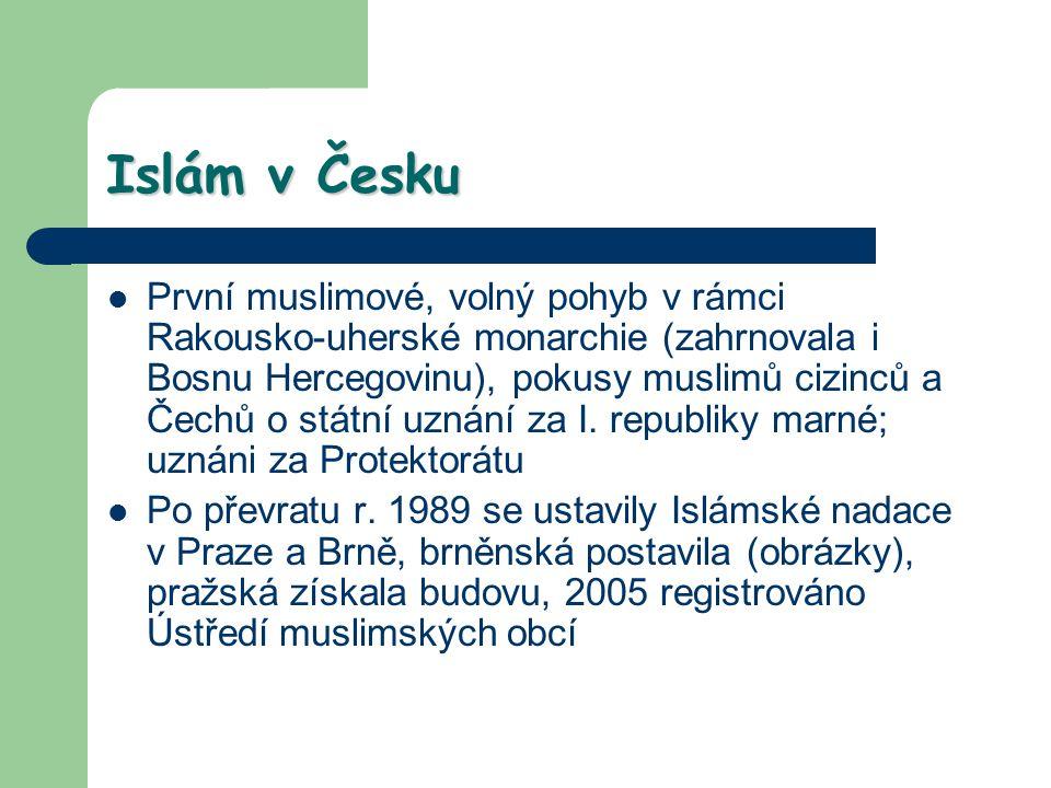 Islám v Česku První muslimové, volný pohyb v rámci Rakousko-uherské monarchie (zahrnovala i Bosnu Hercegovinu), pokusy muslimů cizinců a Čechů o státn