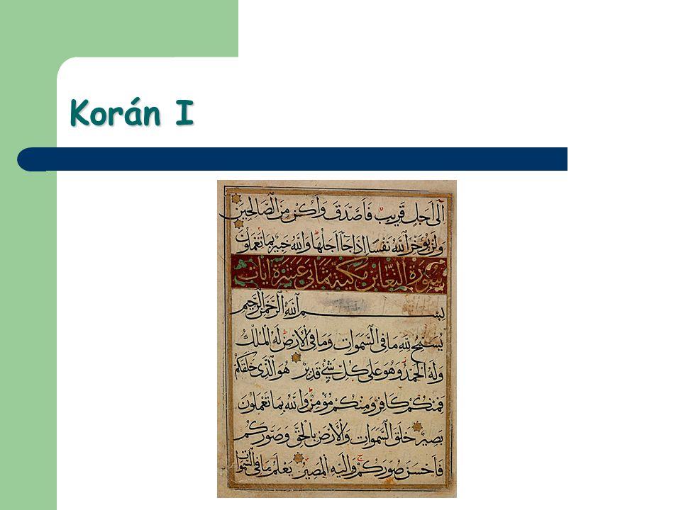 Korán II Existuje tradované pořadí kapitol (súr), je zajímavé odlišit nejstarší mekkánské a pozdní medinské súry; oficiální pořadí je (kromě první súry: Fátiha – Oteviratelka) mechanicky podle rozsahu, od nejdelší po nekratší súru.