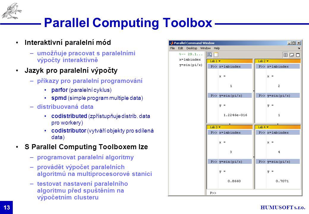 HUMUSOFT s.r.o. 13 Parallel Computing Toolbox Interaktivní paralelní mód –umožňuje pracovat s paralelními výpočty interaktivně Jazyk pro paralelní výp