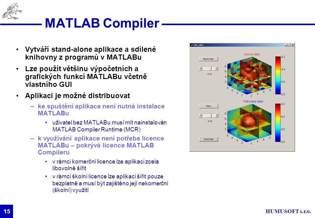 HUMUSOFT s.r.o. 15 MATLAB Compiler Vytváří stand-alone aplikace a sdílené knihovny z programů v MATLABu Lze použít většinu výpočetních a grafických fu