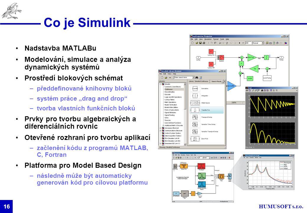 HUMUSOFT s.r.o. 16 Co je Simulink Nadstavba MATLABu Modelování, simulace a analýza dynamických systémů Prostředí blokových schémat –předdefinované kni