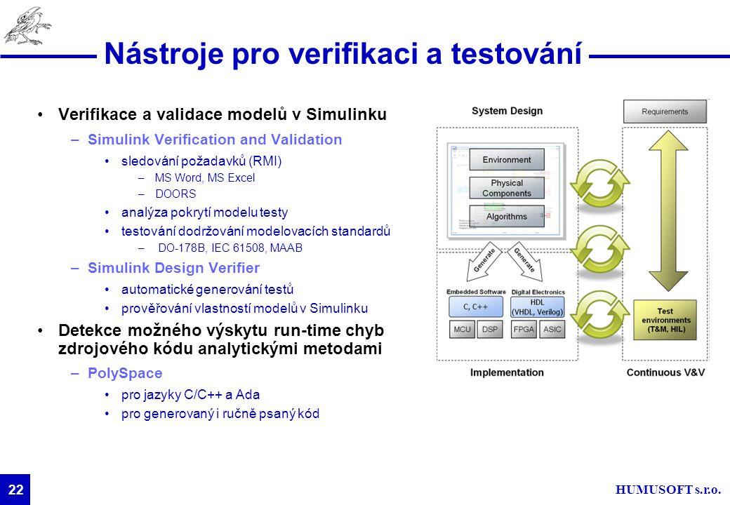 HUMUSOFT s.r.o. 22 Nástroje pro verifikaci a testování Verifikace a validace modelů v Simulinku –Simulink Verification and Validation sledování požada