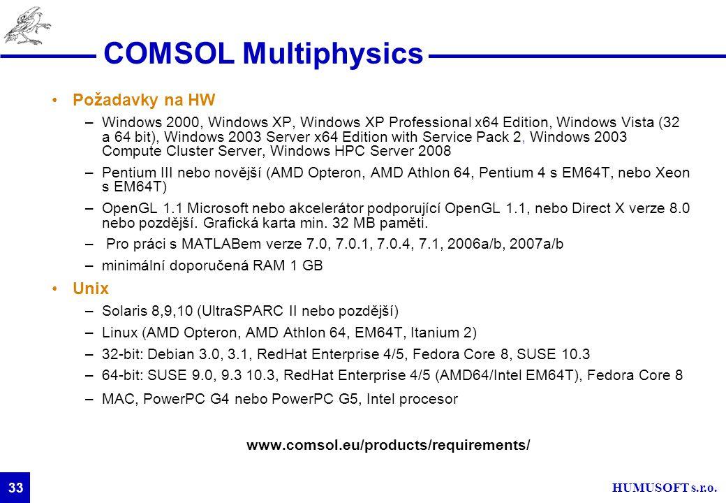 HUMUSOFT s.r.o. 33 COMSOL Multiphysics Požadavky na HW –Windows 2000, Windows XP, Windows XP Professional x64 Edition, Windows Vista (32 a 64 bit), Wi