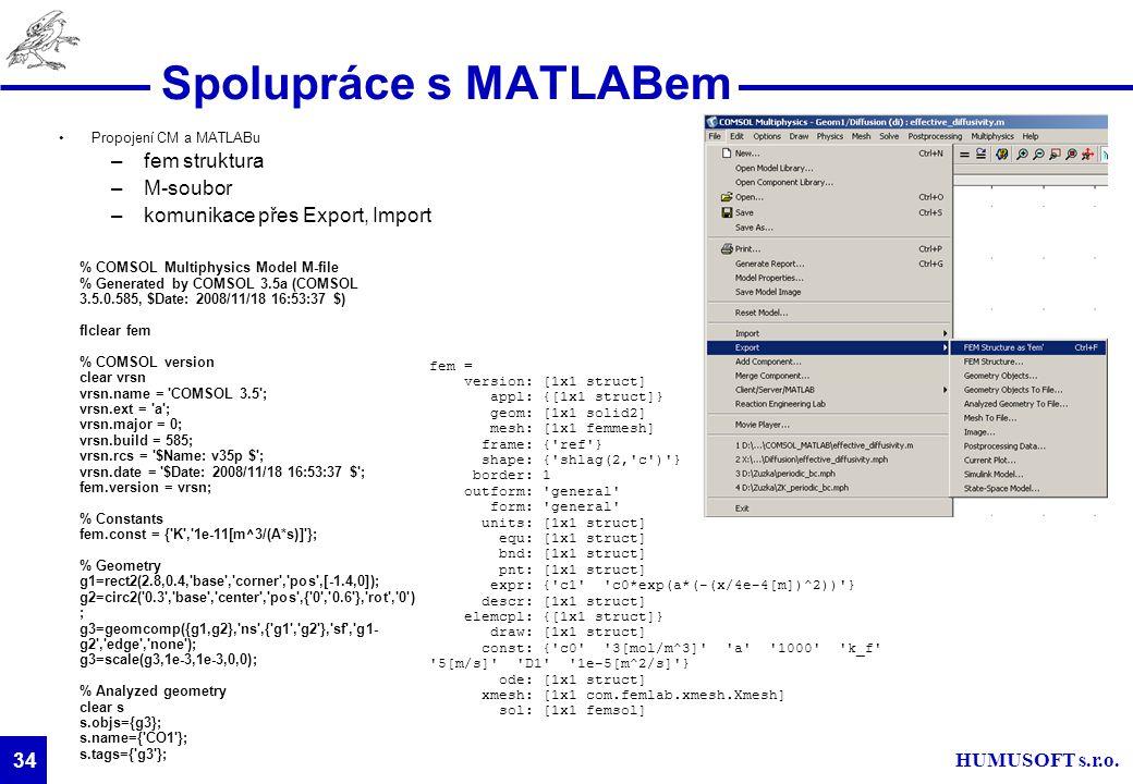 HUMUSOFT s.r.o. 34 Propojení CM a MATLABu –fem struktura –M-soubor –komunikace přes Export, Import 34 Spolupráce s MATLABem fem = version: [1x1 struct