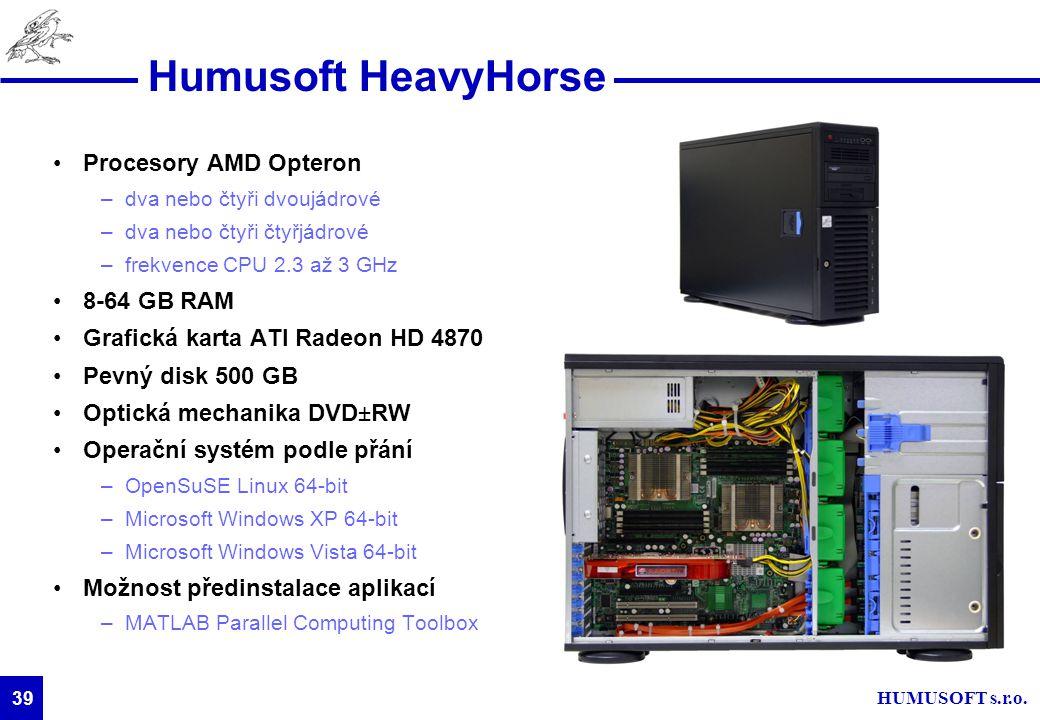 HUMUSOFT s.r.o. 39 Humusoft HeavyHorse Procesory AMD Opteron –dva nebo čtyři dvoujádrové –dva nebo čtyři čtyřjádrové –frekvence CPU 2.3 až 3 GHz 8-64