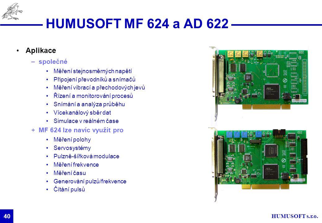 HUMUSOFT s.r.o. 40 HUMUSOFT MF 624 a AD 622 Aplikace –společné Měření stejnosměrných napětí Připojení převodníků a snímačů Měření vibrací a přechodový