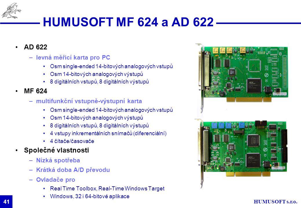 HUMUSOFT s.r.o. 41 HUMUSOFT MF 624 a AD 622 AD 622 –levná měřicí karta pro PC Osm single-ended 14-bitových analogových vstupů Osm 14-bitových analogov