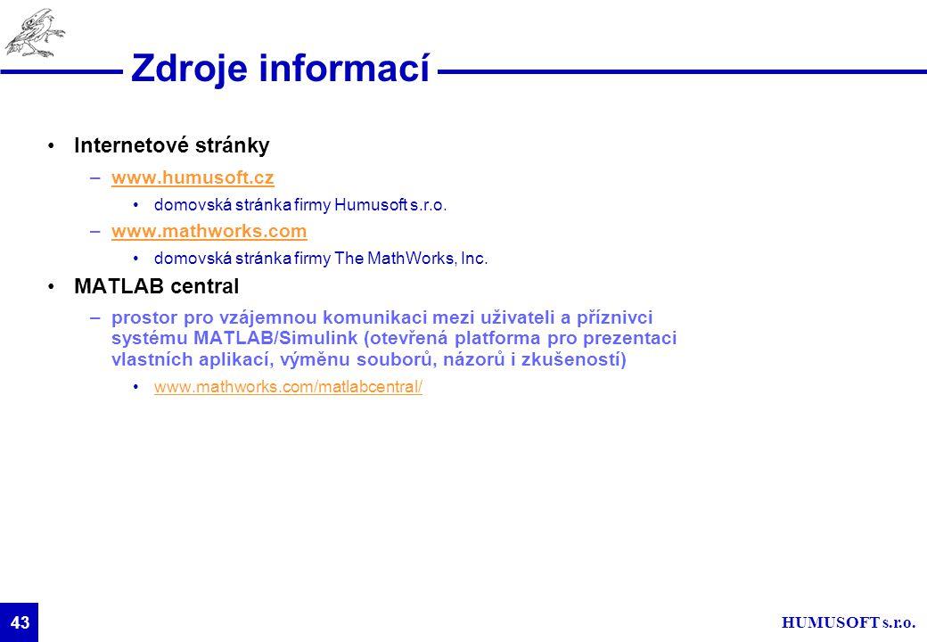HUMUSOFT s.r.o. 43 Zdroje informací Internetové stránky –www.humusoft.czwww.humusoft.cz domovská stránka firmy Humusoft s.r.o. –www.mathworks.comwww.m