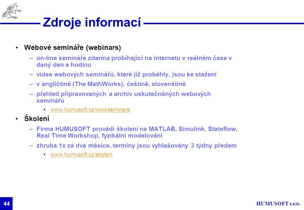 HUMUSOFT s.r.o. 44 Zdroje informací Webové semináře (webinars) –on-line semináře zdarma probíhající na internetu v reálném čase v daný den a hodinu –v