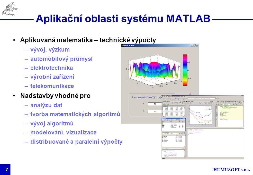 HUMUSOFT s.r.o. 7 Aplikační oblasti systému MATLAB Aplikovaná matematika – technické výpočty –vývoj, výzkum –automobilový průmysl –elektrotechnika –vý