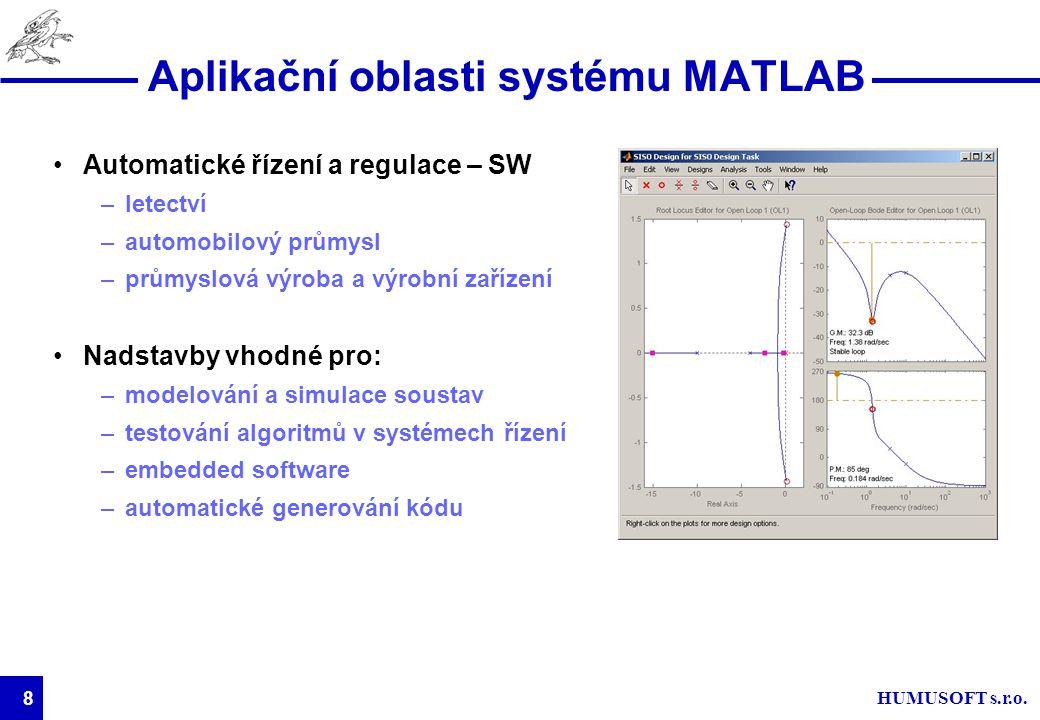 HUMUSOFT s.r.o. 8 Aplikační oblasti systému MATLAB Automatické řízení a regulace – SW –letectví –automobilový průmysl –průmyslová výroba a výrobní zař