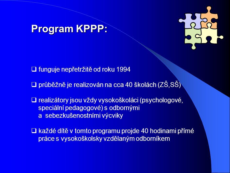 Program KPPP:  funguje nepřetržitě od roku 1994  průběžně je realizován na cca 40 školách (ZŠ,SŠ)  realizátory jsou vždy vysokoškoláci (psychologové, speciální pedagogové) s odbornými a sebezkušenostními výcviky  každé dítě v tomto programu projde 40 hodinami přímé práce s vysokoškolsky vzdělaným odborníkem