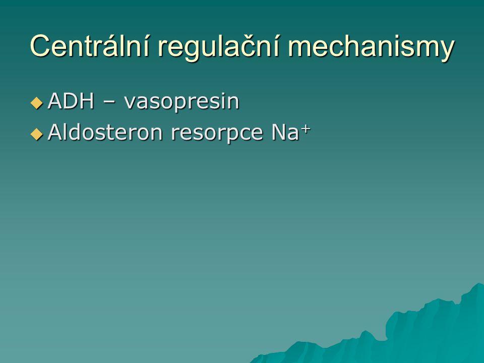 Centrální regulační mechanismy  ADH – vasopresin  Aldosteron resorpce Na +