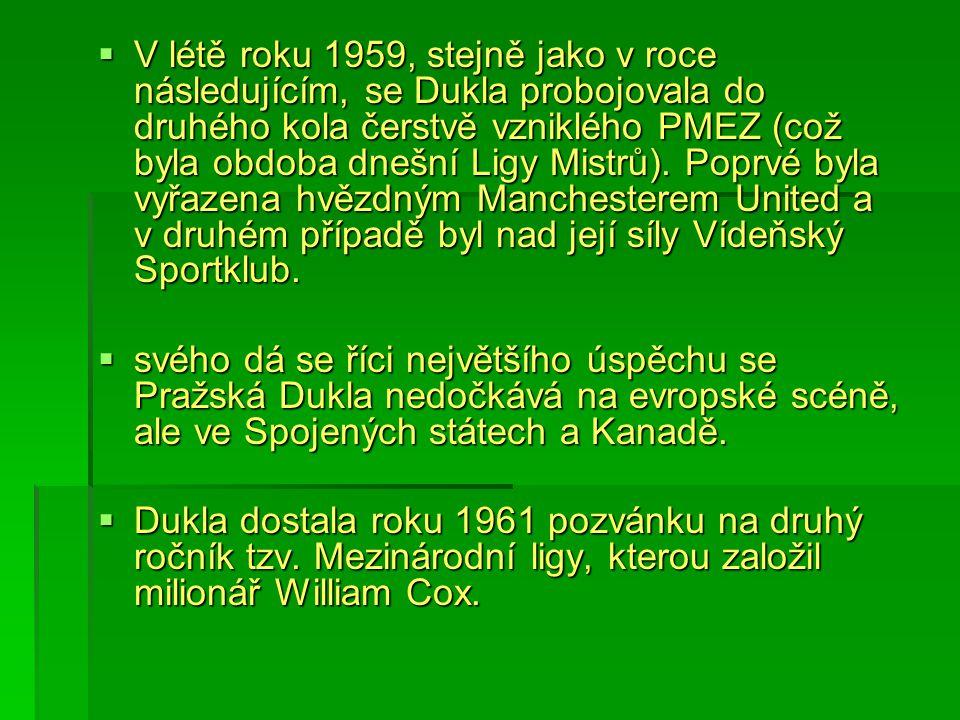  V létě roku 1959, stejně jako v roce následujícím, se Dukla probojovala do druhého kola čerstvě vzniklého PMEZ (což byla obdoba dnešní Ligy Mistrů).