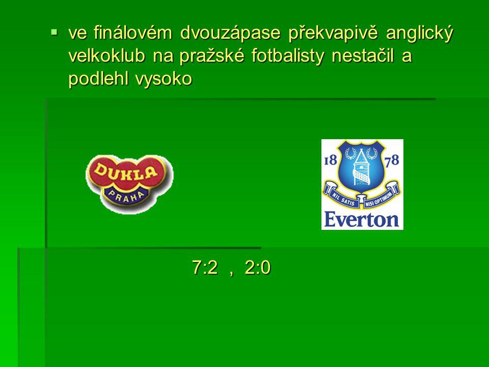  ve finálovém dvouzápase překvapivě anglický velkoklub na pražské fotbalisty nestačil a podlehl vysoko 7:2, 2:0