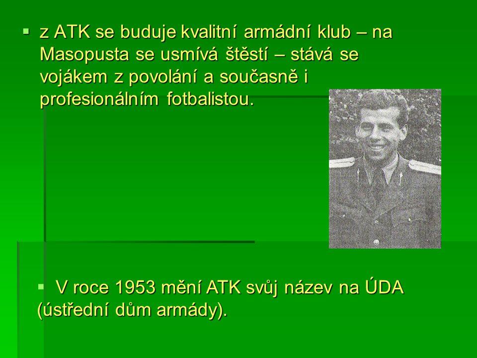  z ATK se buduje kvalitní armádní klub – na Masopusta se usmívá štěstí – stává se vojákem z povolání a současně i profesionálním fotbalistou.  V roc