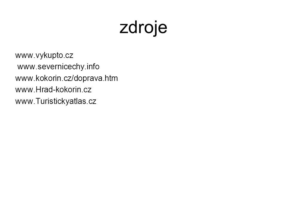 zdroje www.vykupto.cz www.severnicechy.info www.kokorin.cz/doprava.htm www.Hrad-kokorin.cz www.Turistickyatlas.cz