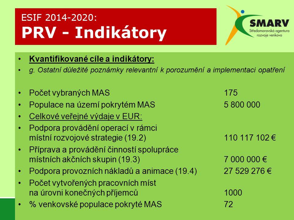 Kvantifikované cíle a indikátory: g.